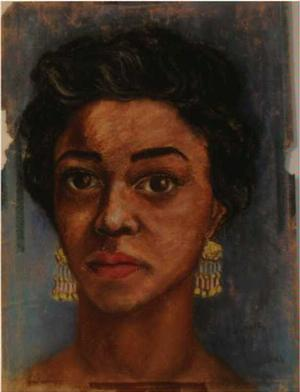 Self Portrait, pastel on paper, 1959. © Faith Ringgold.  Michele Wallace collection