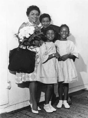 Faith Ringgold, Willi Posey, Michele and Barbara en route to France on S.S. Liberte, 1961. Faith RInggold collection