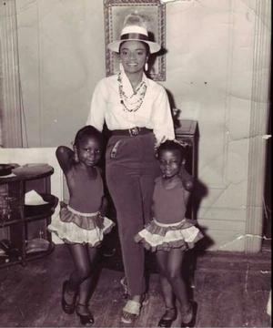 Faith Ringgold and daughters Michele and Barbara in dance costumes, 1957. Photo: D'Laigle. Faith Ringgold collection