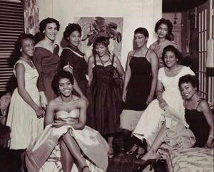 Daughters and models with Mme. Willi Posey at her Edgecombe Ave home, 1955. Photo: D'Laigle