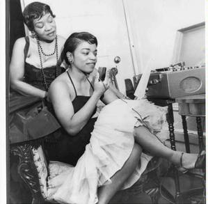 Mme. Willi Posey and Faith with reel to reel tape recorder, 1955. Photo: D'Laigle