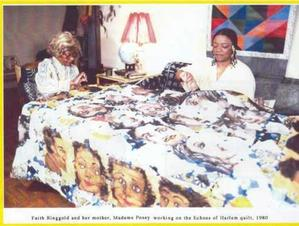 Faith Ringgold and Willi Posey working on Echoes of Harlem quilt