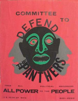 Committee to Defend The Panthers poster, 1970, cut paper