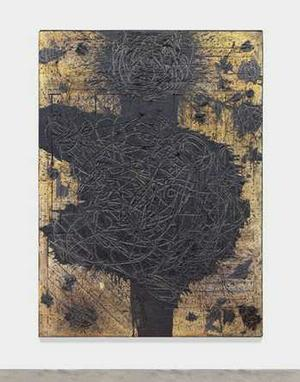 Rashid Johnson, Boogie, 2013, Burned red oak flooring, black soap, spray enamel, 84 1/2 x 60 5/8 x 3 in.