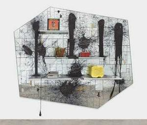 Rashid Johnson, We Wonder, 2013, mirrored tile, black soap, wax, shea butter, plant, books, vinyl, 98 x 121 x 12 in