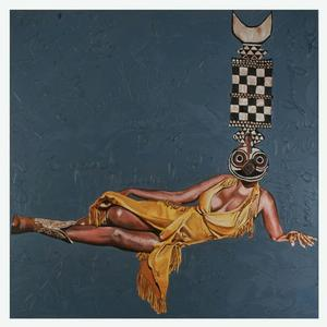 Bwa Aretha - African Diva, 2009, oil and cold wax on canvas and paper, 36 x 36 inches, Private Collection, NY, NY