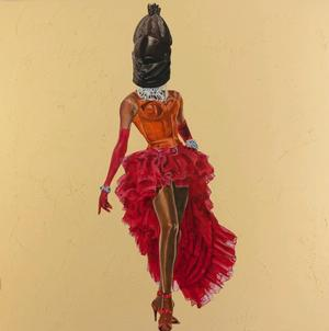 Sowei RuPaul, African Diva, 2012, oil & cold wax on canvas and paper, 48 x 48