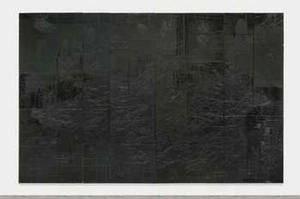 Rashid Johnson, Everybody's a Star, 2013, black mirrored tile, black soap, wax, 144 x 240 x 3