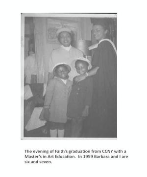 Faith Ringgold, Willi Posey, Michele and Barbara on Faith's graduation day for M.S. in art education,1959