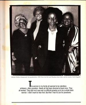 Page from Ms. cover story: Michele Wallace (2nd from right) with her two grandmothers and mother. Photo: Anthony Barboza