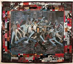 Who's Bad?, acrylic on canvas, quilt frame 79.5 x 92.5 © Faith Ringgold