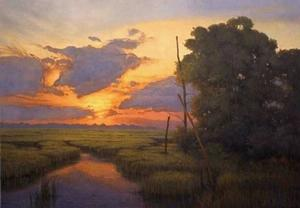 Mason Archie, Sunset across the Marshland, 24x36