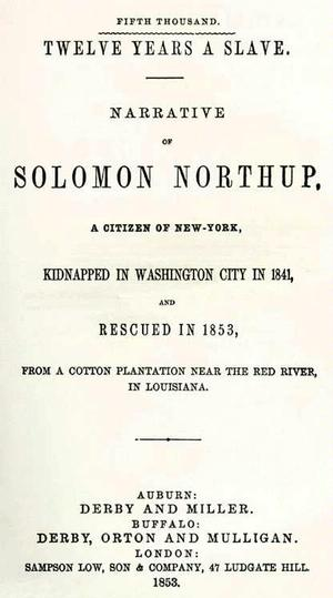 Title page from 1853 edition of Twelve Years A Slave book
