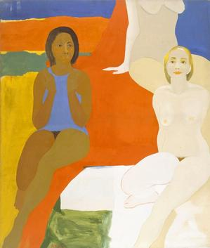 "Emma Amos, Three Figures, 1966, oil on canvas, 60 x 50."" Collection of the artist. © Emma Amos / Licensed by VAGA, New York, NY. Photo: Becket Logan"