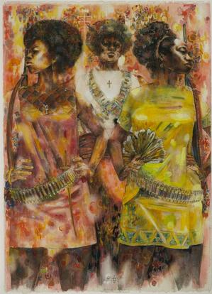 "Jeff Donaldson, Wives of Shango, 1969, watercolor with mixed media on paper, 30 x 22."" Brooklyn Museum, Gift of R. M. Atwater & others © Jameela K. Donaldson"