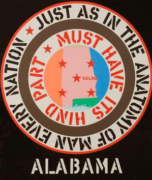 "Robert Indiana, The Confederacy: Alabama, 1965, oil on canvas, 70 x 60."" Miami University Art Museum, Oxford, Ohio, Gift of Walter and Dawn Clark Netsch. © 2013 Morgan Art Foundation / Artists Rights Society (ARS), New York"