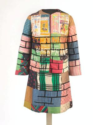 "Jae Jarrell, Urban Wall Suit, circa 1969, dyed and printed silk with paint, 38 x 21 x 10"". Brooklyn Museum, Gift of R. M. Atwater & others © Jae Jarrell"