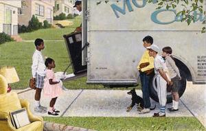 "Norman Rockwell, New Kids in the Neighborhood (Negro in the Suburbs), 1967, oil on canvas, 36 1/2 x 57 ½"". Story illustration for Look, May 16, 1967. Norman Rockwell Museum Collection, Stockbridge, MA. Printed by permission of the Norman Rockwell Family Agency. © 2013 the Norman Rockwell Family Entities West African blues project"