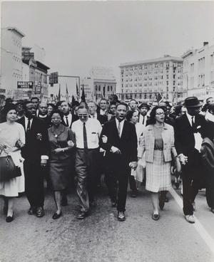 "Moneta Sleet Jr., Rosa Parks, Dr. and Mrs. Abernathy, Dr. Ralph Bunche, and Dr. and Mrs. Martin Luther King, Jr. leading marchers into Montgomery, 1965, printed circa 1970, gelatin silver print, 13 3/8 x 10 ¾"" Saint Louis Art Museum, Gift of the Johnson Publishing Company, 426:1991. © Johnson Publishing Company, LLC"