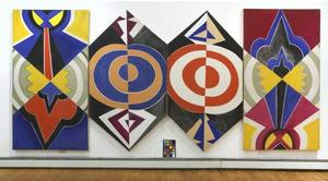 "Joe Overstreet, Justice, Faith, Hope and Peace, 1968, acrylic on canvas, four panels: 89 x 47 ¼"", 89 1/2 x 47 1/8"", 89 1/2 x48 ½""and 89 7/8 x 48 ½"", collection of the artist, courtesy of Kenkeleba  Gallery, New York.  Photo: Charles Kaufman, Brooklyn Museum"