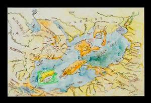 Black Sea Composite Map 4, 2012, acrylic ink on polypropylene paper, 26 x 40""