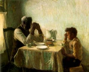 Henry O. Tanner, The Thankful Poor, 1894. Collection of Camille and Bill Cosby