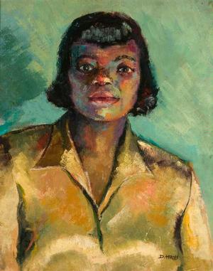 Dox Thrash, Portrait of a Woman, c. 1940-'50s, oil on board. Collection of Dianne Whitfield-Locke and Carnell Locke