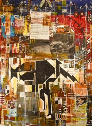 "Eric Mack & Angelbert Metoyer, Untitled,"" mixed media on paper, 38 x 28"" 2000"