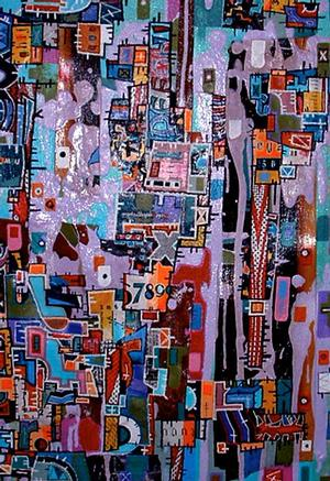Eric Mack, Commercial Modern/Late Modern 1930-1960, 2012, mixed media on canvas, 20 x 30