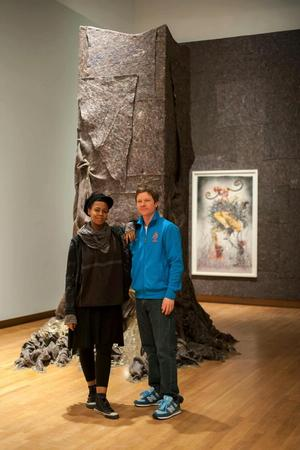 Schoonmaker and Wangechi Mutu installing Fantastic Journey exhibition. Photo: J Caldwell