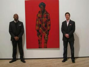 Kenneth Montague and Trevor Schoonmaker with Barkley L. Hendrick's 1975 painting, Blood (Donald Formey). Wedge Collection
