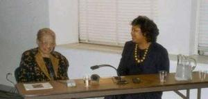 Loïs Mailou Jones with Tritobia Benjamin discussing The Life and Art of Loïs Mailou Jones, c. 1994, Photo Courtesy of the Moorland-Spingarn Research Center