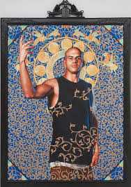 "Kehinde Wiley, Leviathan Zodiac (The World Stage: Israel), 2011, oil and gold enamel on canvas, 95.75 x 71.75."" Courtesy of the artist and Roberts & Tilton, Culver City, CA"