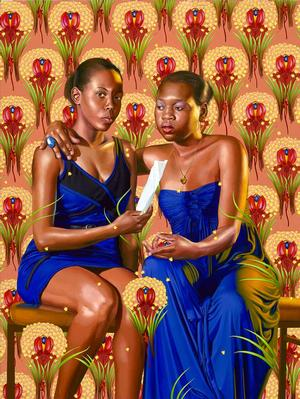 Kehinde Wiley, The Sisters Zenaide and Charlotte Bonaparte (The World Stage: Haiti) 2014, oil on canvas 83.85 x 62.99