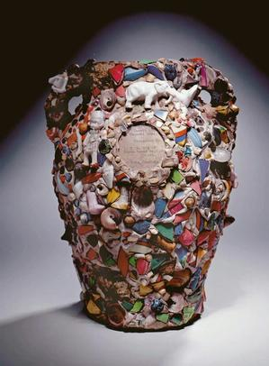 American artist, Memory jar, 20th century. Clay with shards and found objects. High Museum of Art