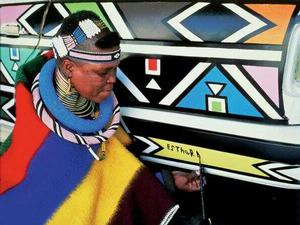 Esther Mahlangu painted a Fiat in 2007