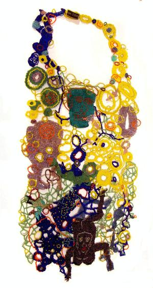Joyce J. Scott, Bib Neckpiece, 2009, woven glass beads. Courtesy of Mobilia Gallery, Cambridge, MA