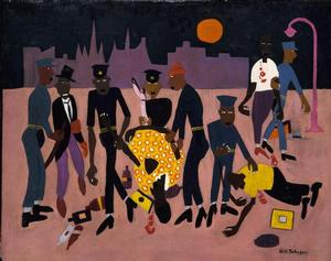 William H. Johnson, Moon Over Harlem, 1943-44, oil on wood,Smithsonian American Art Museum
