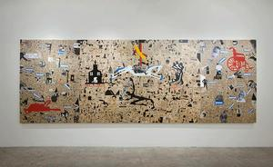 Deborah Grant, From The Provenance and Crowning of King William, oil, archival ink, paper, flashe paint and enamel on birch panels, Turner Contemporary