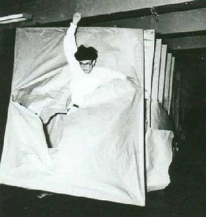 Murakami Saburo, Passing Through, 1956. Performance view at the 2nd Gutai art exhibition, Ohara Kaikan. Photo: Murakami Makiko and the former members of the Gutai Art Association, courtesy Museum of Osaka University