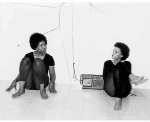 Senga Nengudi and Marian Hassenger at the Pearl C. Wood Gallery, 1977