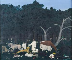 "Horace Pippin, The Holy Mountain I, 1944, oil on canvas, 30 x 36,"" Collection of Camille O. and William H. Cosby Jr., photo: Frank Stewart, permission courtesy of the artist"