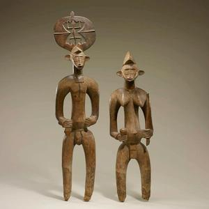 Senufo artist, Côte d'Ivoire Male and female figures Mid-20th century Wood Smithsonian National Museum of African Art