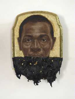 Titus Kaphar Jerome II, 2014 Oil, gold leaf and tar on wood panel 4-ft by 5-ft ©Titus Kaphar Courtesy the artist and Jack Shainman Gallery, New York
