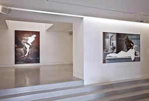 Installation view of Titus Kaphar's Behind A Veil of Beauty exhibition, SEM-Art Gallery, Monaco. Photo: courtesy the gallery