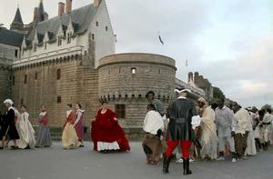 Recreation of the march of the slaves, Nantes, France, 2007. Photo: Nantes Citizen blog