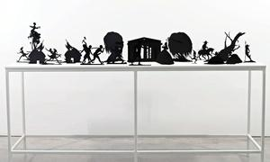Kara Walker, Burning African Village Play Set with Big House and Lynching, edition 4/20, 2006, painted laser cut steel, sizes vary, height approx. 15""