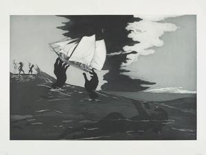 Kara Walker, An Unpeopled Land in Uncharted Waters: Savant, edition 19/30, 2010, etching with aquatint, sugar-lift, spit-bite and dry-point, 27 X 17""
