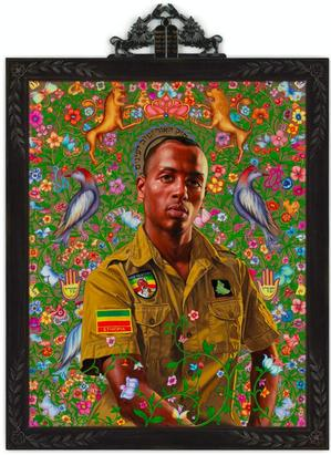 "Kehinde Wiley, Kalkidan (from The World Stage: Israel), 2011, oil and gold enamel on canvas, 45 x 36"". Courtesy of Kehinde Wiley Studio and Robers & Tilton, Culver City, CA"