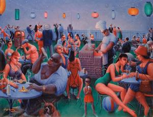 "Archibald J. Motley Jr.,Barbecue, 1960, oil on canvas, 30.375 x 40"" Collection of Mara Motley, MD, and Valerie Gerrard Browne. Image courtesy of the Chicago History Museum, Chicago, Illinois. © Valerie Gerrard Browne"